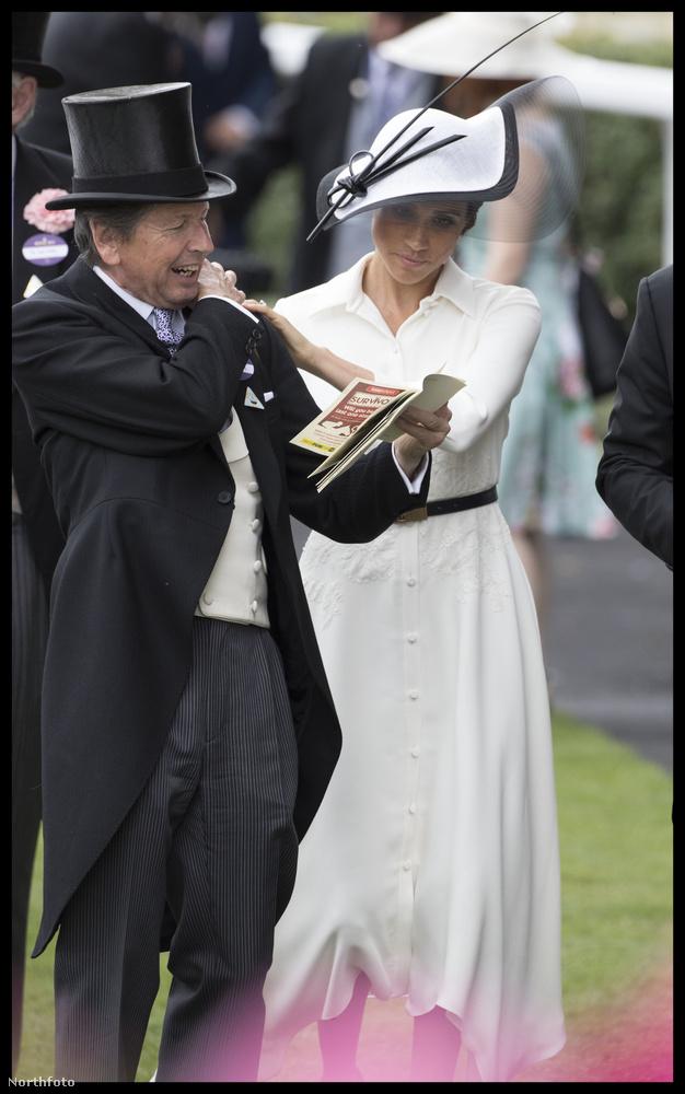 Az egykori színésznőnek ez volt egyébként az első ascoti derbije, de nem először viselt vicces kalapot.
