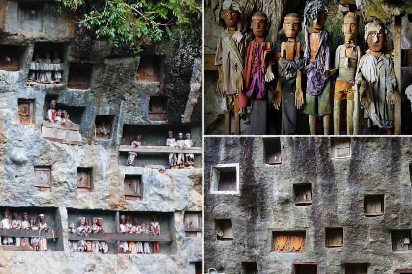 Faszobrocskák őrzik a holtak lelkét: százával sorakoznak az indonéz sírok körül
