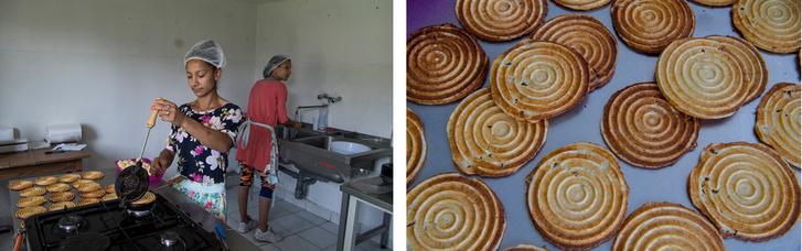 Ilonkáék egy műszak alatt 150 Bagolykalácsot gyártanak le: chlis, sajtos és vaníliás ízben készítik a rágcsálnivalót.
