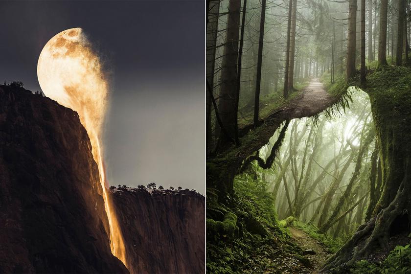Balról jobbra: egybeolvad a Hold a folyóval, erdő alatt egy újabb erdő.