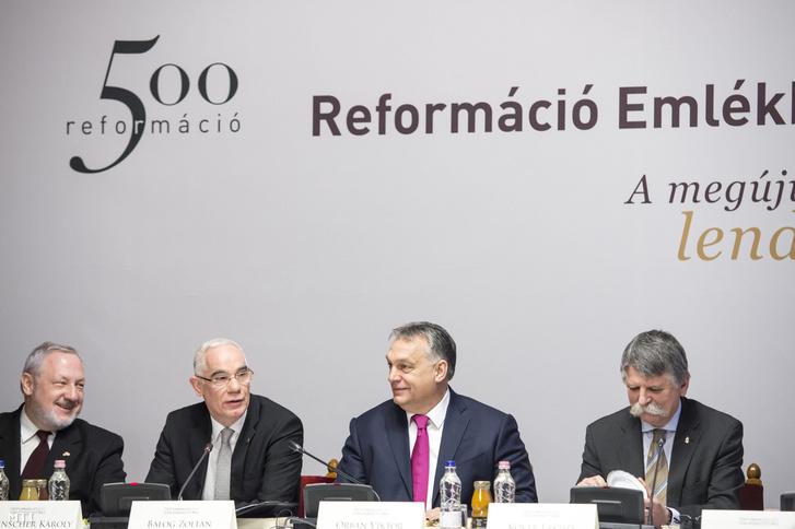 Orbán Viktor, Balog Zoltán és Kövér László a Reformáció 500 programsorozat egyik rendezvényén.