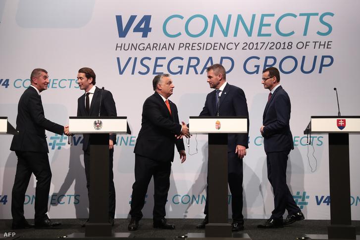 Közép-európai miniszterelnökök: Andrej Babis Csehországból, Sebastian Kurz Ausztriából, Orbán Viktor, a házigazda, Peter Pellegrini Szlovákiából, Mateusz Morawiecki Lengyelországból.