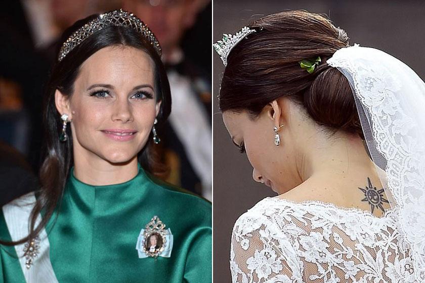 Sofia svéd hercegné hátán egy napocska van. Egyébként nem ez az egyetlen tetkója, van egy apró szimbólum a bokáján is.