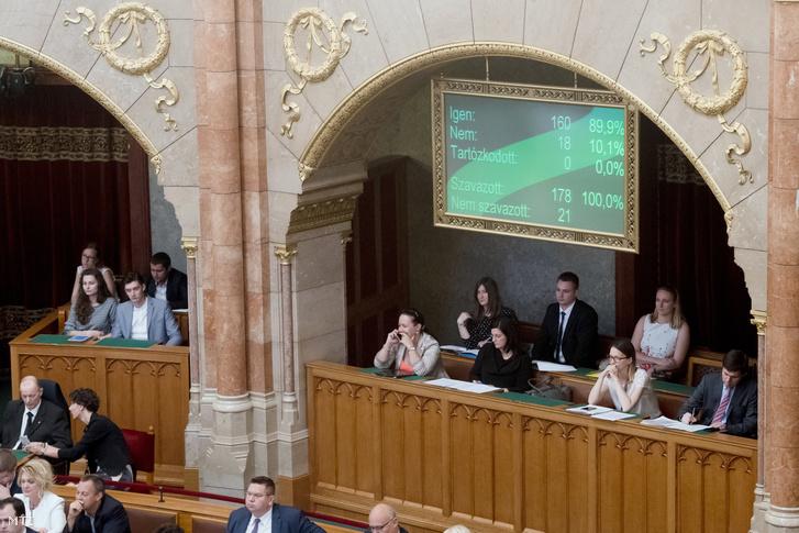 A kijelzõn látható a kormány Stop Soros törvénycsomagjáról szóló szavazás végeredménye az Országgyûlés plenáris ülésén 2018. június 20-án. A törvényhozás 160 igen 18 nem szavazattal fogadta el a törvénycsomagot amely alapján büntetõ törvénykönyvi (Btk.) tényállás lesz az illegális bevándorlás elõsegítése támogatása.