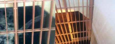 A vízszivárgás helye a betömés előtt és után