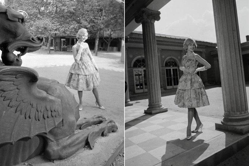 Fekete Klári a '60-as évek elején a városligeti Vidámparkban egy fotózáson.