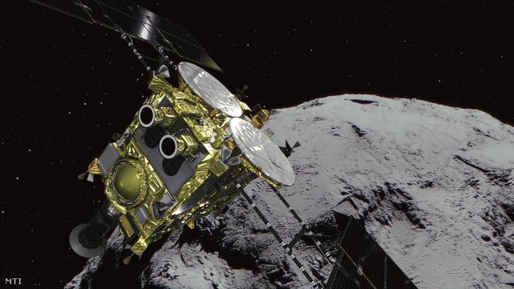 A Japán Űrkutatási Ügynökség a JAXA által 2018. június 27-én közreadott számítógépes grafika a Hajabusza 2 aszteroidavizsgáló űrszondát ábrázolja egy kisbolygónál. Ezen a napon az űrszonda elérte az 162173 Rjugu néven nyilvántartott aszteroidát a Földtől mintegy 280 millió kilométerre és megkísérel krátert robbantani a felszínébe hogy az onnan vett kőzetmintákkal tudjon majd visszatérni a Földre a három és fél éves küldetése végén. A Rjugut 1999. május 10-én fedezték fel a LINEAR teleszkópjával az egyesült államokbeli Új-Mexikóban.