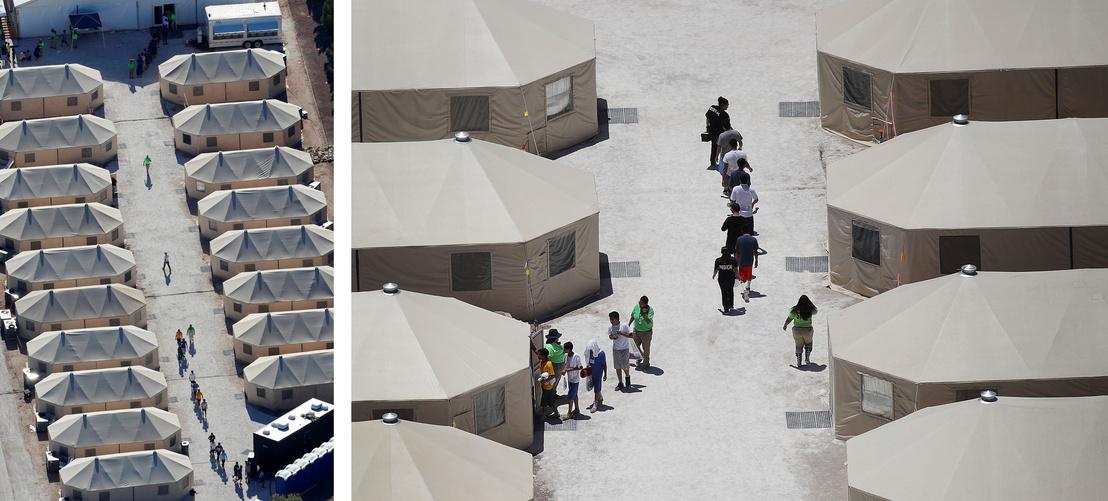 Az egyik sátortábor a Mexikóhoz közel eső Tornillo városában Texasban