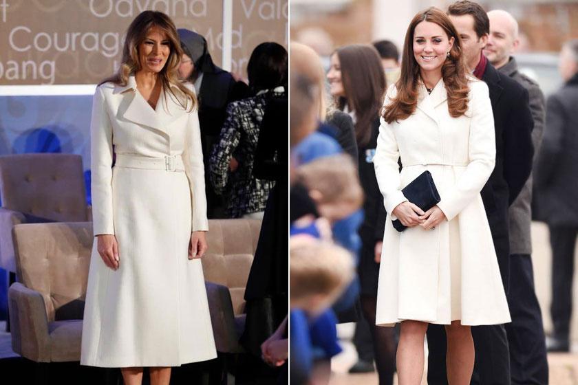 Melania Trump és Katalin hercegné is rajong a klasszikus, fehér színért - ez a szín mind a kettőjüknek eleganciát kölcsönöz.