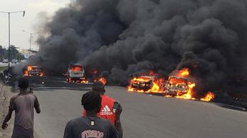 Kigyulladt egy üzemanyag-szállító Lagosban, kilenc halott