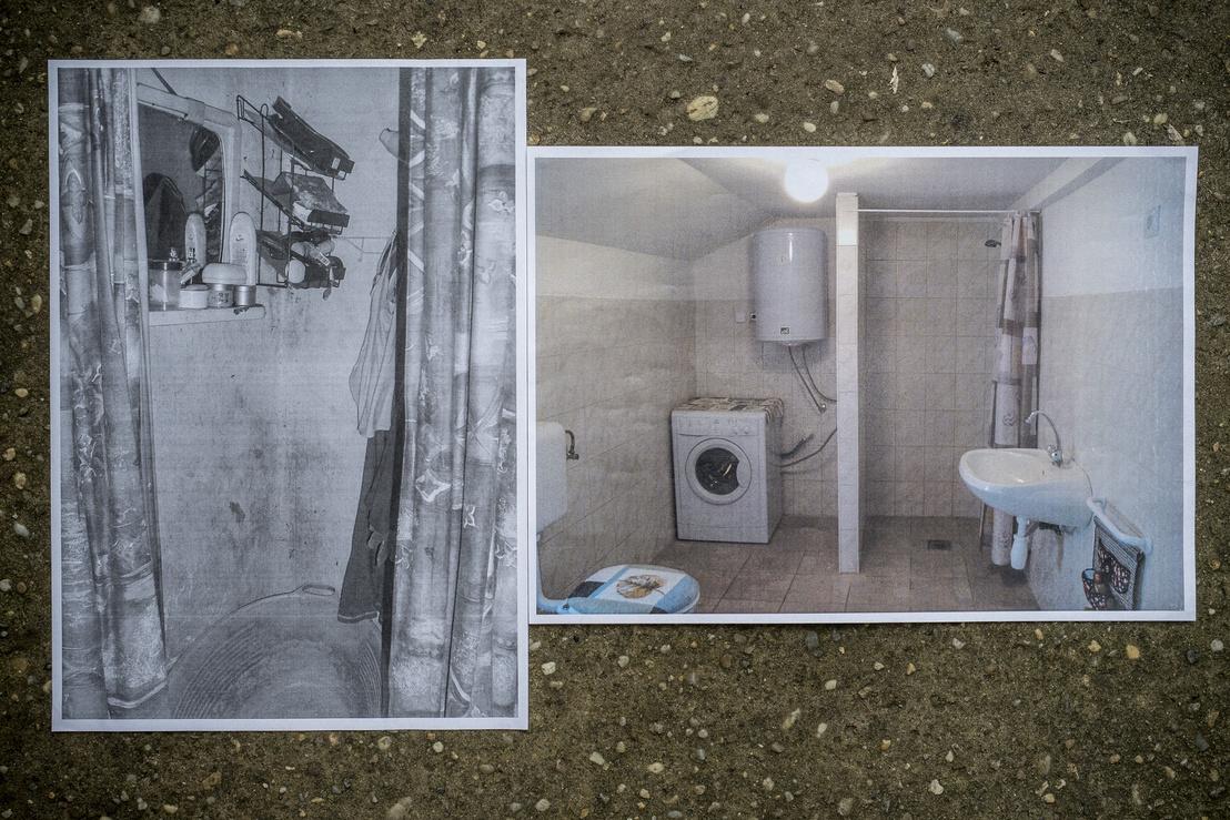 A zuhanyzó balra, majd a fürdőszoba a felújítás után a jobb oldali képen