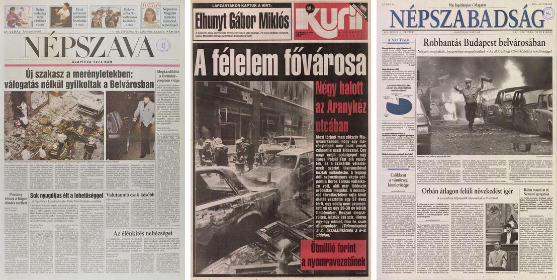 Újságcímlapok a merénylet másnapján