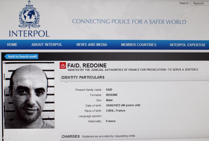 Faid körözési fotója az Interpol oldalán 2013-ban