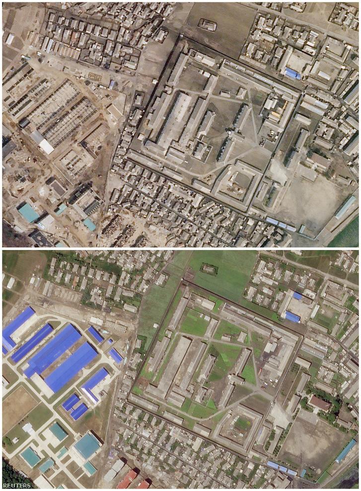 A felső kép 2018. április 1-jén, az alsó 2018. június 29-én készült az észak-koreai Hanhung város rakétalétesítményéről