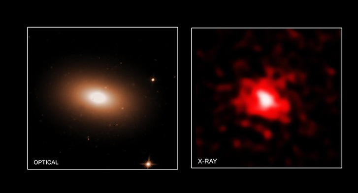 """Az MRK 1216 """"vörös rög"""" galaxis képe az optikai (Hubble-űrtávcső) és a röntgen (Chandra-röntgentávcső) tartományban"""