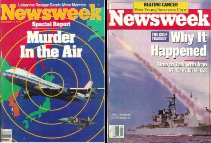 A Newsweek a koreai gép oroszok általi lelövését gyilkosságként, míg az iráni gép lelövését balesetként tálalta.