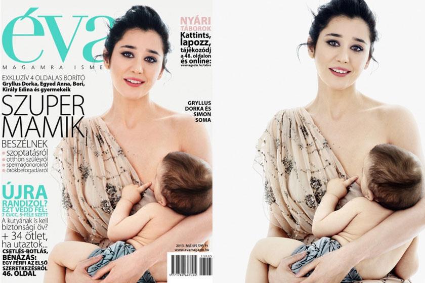 Gryllus Dorka az Éva Magazin 2013. májusi számának címlapján szerepelt ezzel a merész, szép szoptatós fotóval.