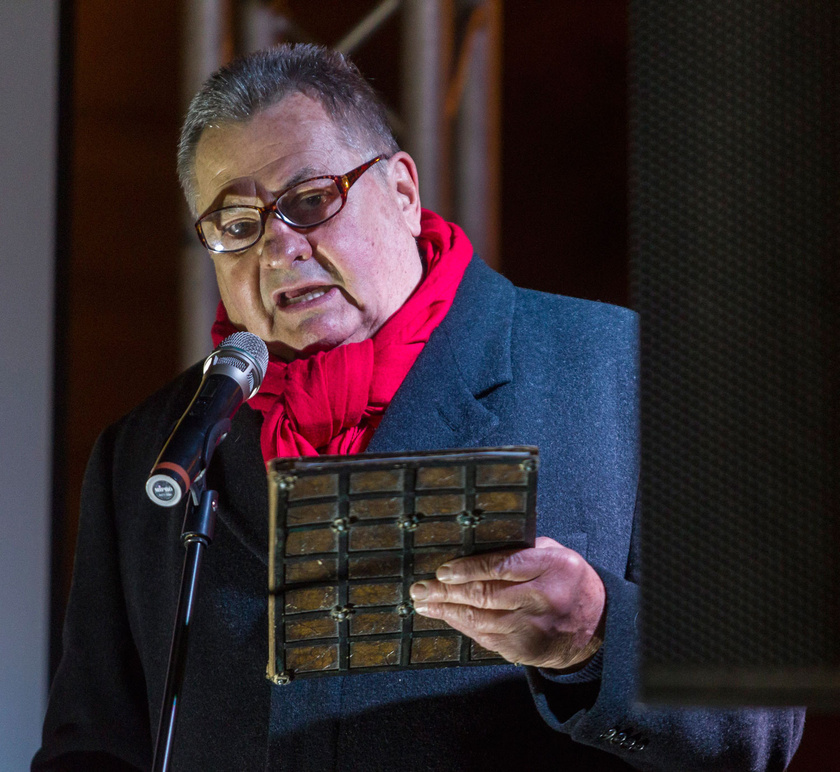Kovács P. József 2017. január 20-án a Jobb világrend beiktatási party című rendezvényen a Szabadság téren.