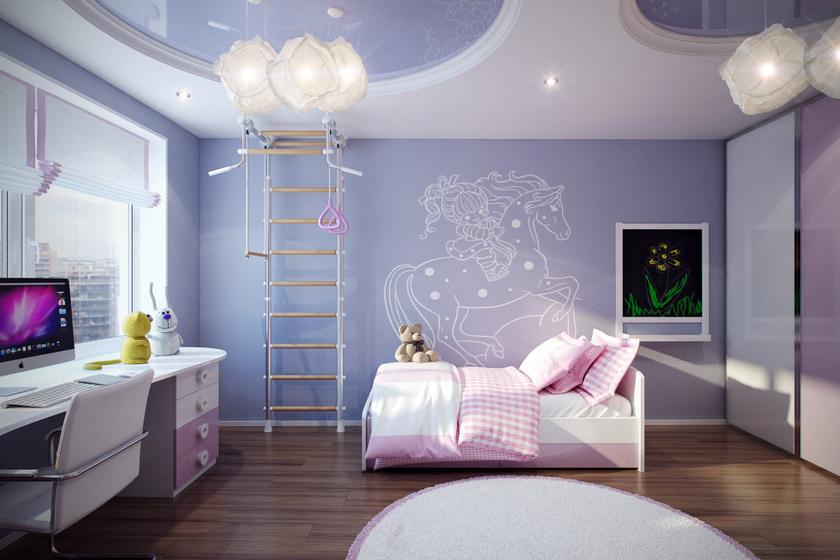 Varázslatos és modern ez a gyerekszoba, ahol a lilás árnyalatok dominálnak. A berendezés még az örökmozgók számára is tökéletes.