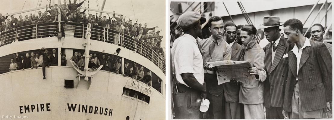 Az Empire Windrush Tilbury kikötőjében 1948. június 21-én. Az angol munkaerőhiány miatt a karibi térségből hozták a bevándorlókat.