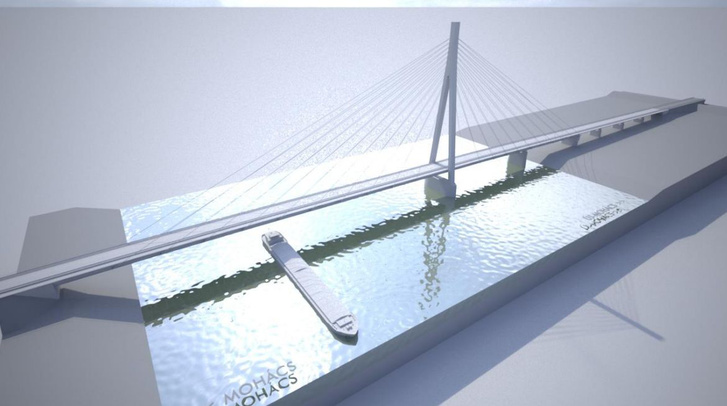 Látványterv a mohácsi Duna-híd megvalósíthatósági tanulmányából (2016.)