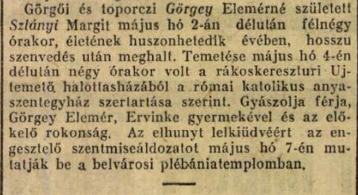 Gyászjelentés - Magyarság 1929. május 5. 18. o.