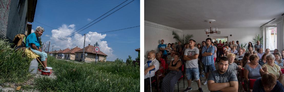 Kerecsendi telepi életkép, jobbra pedig a lakossági fórum, ahol a lakók számonkérték a képviselőtestületet a visszautasított pályázat miatt.