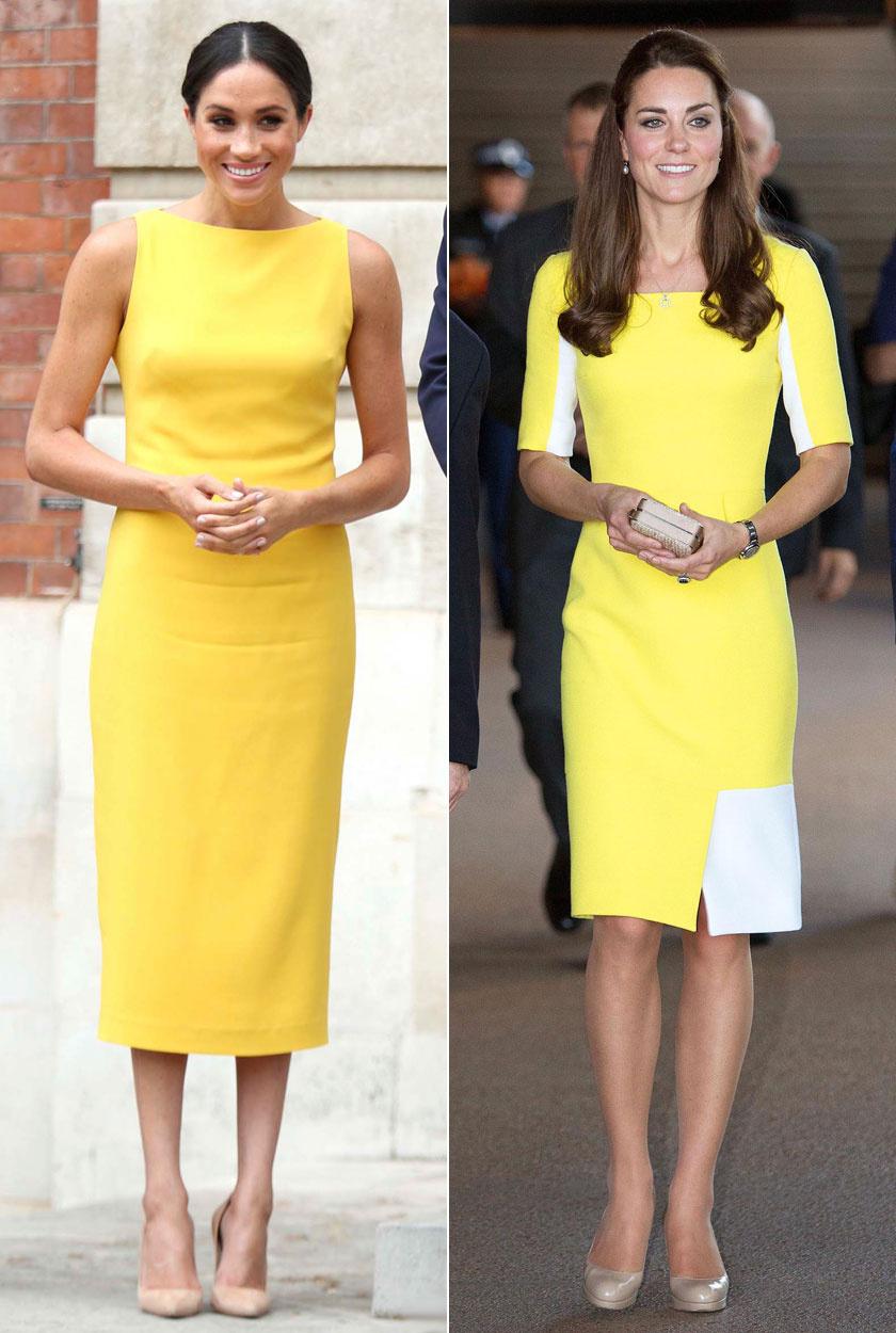 Meghan ezt a Brandon Maxwell tervezte napsárga darabot Londonban viselte. Katalint pedig Sydneyben láthattuk egy ugyanilyen színű Roksanda Ilincic ruhában.