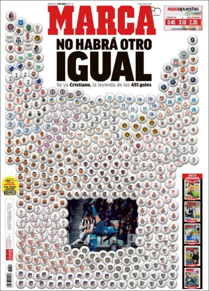 A Marca július 11-ei címlapja, Ronaldo 451 gólja és a gólt kapott csapatok