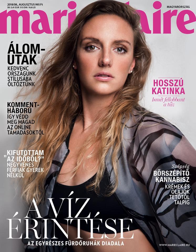 Hosszú Katinka a Marie Claire magazin 2018. augusztusi számának címlapján.