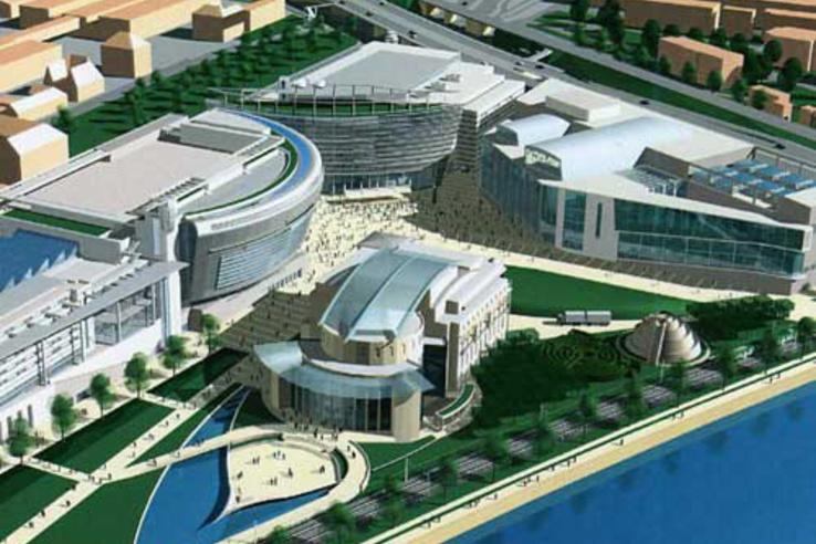 A négy tervezett épület által közrezárt körönd