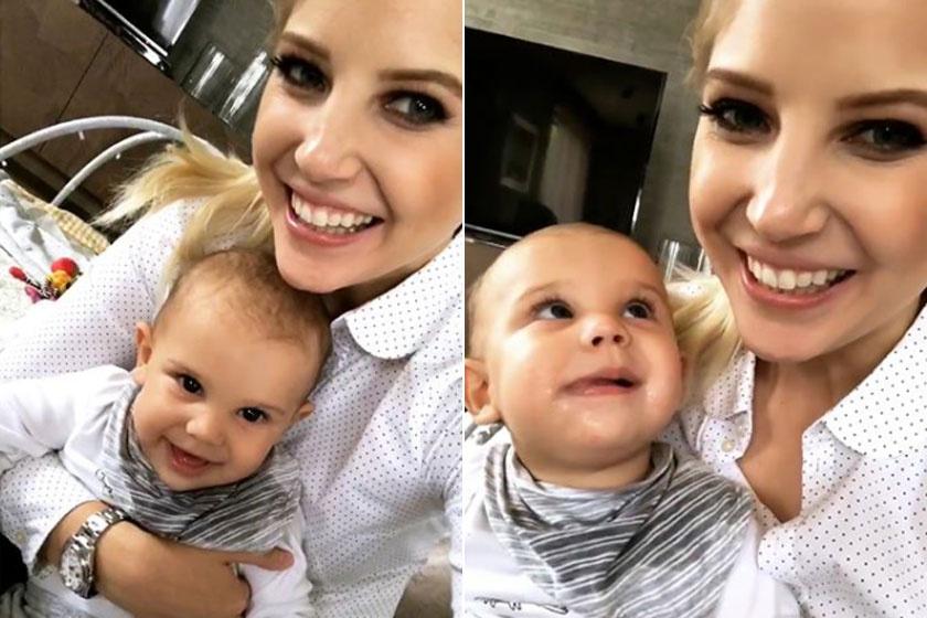 Szabó Zsófi 7 és fél hónapos kisfia, Mendel nagyon tündéri kisfiú, elég csak a mosolyát figyelni, és máris jobb lesz az ember kedve.
