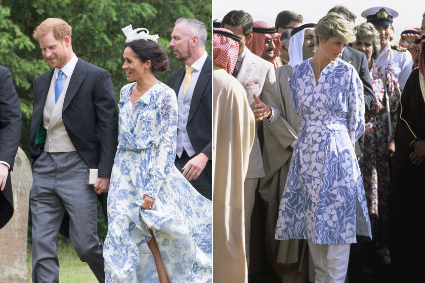 Meghan és Diana is letette már a voksát egy kék-fehér, virágos szettre. Mind a kettőjük karakteréhez jól passzolt ez a színkombináció.