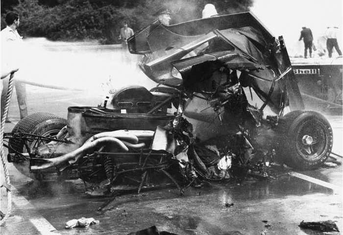 Pedro Rodríguez Ferrari 512-esének roncsa az 1971-es tragikus baleset után