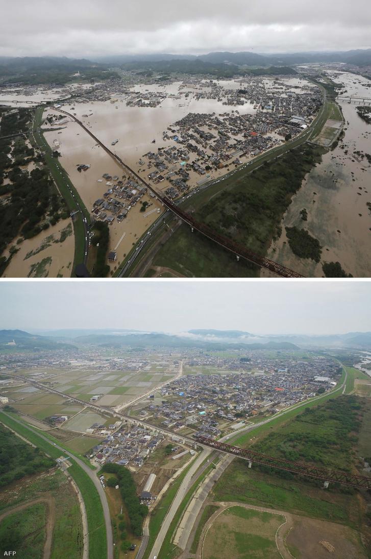 Kurasiki városa az áradások előtt és után
