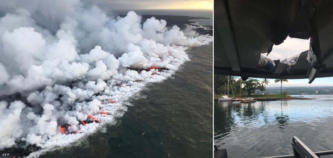 A Kilauea vulkán lávafolyama az óceánban és a lávakitöréstől megsérült hajó