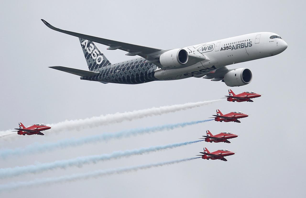 Stílusos bevonulás: az Airbus A350-ös gépét a brit Red Arrows légi akrobata csapat kíséri.