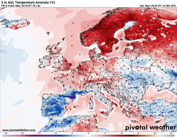 A hétfői hőtérképen - ami az átlagtól való eltérést mutatja - jól látszik az anomália