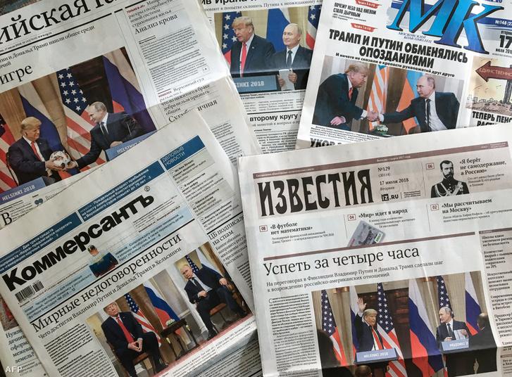 Az orosz lapok címlapjai egy moszkvai újságárusnál az elnöki találkozó másnapján, 2018. július 17-én