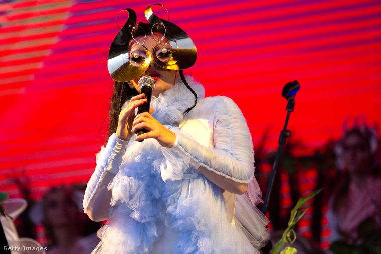 Ezen a képen Björk izlandi énekesnő látható, aki a '90-es években lett híres, és bár kevésbé zajos sikerrel, de azóta is ontja a zenét, legutóbbi albuma tavaly novemberben jelent meg Utopia címmel