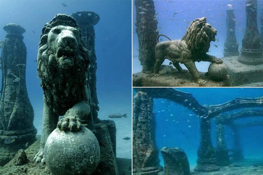 Kleopátra palotája az Alexandria egykori területéhez tartozó Anthirodos elsüllyedt szigetén.