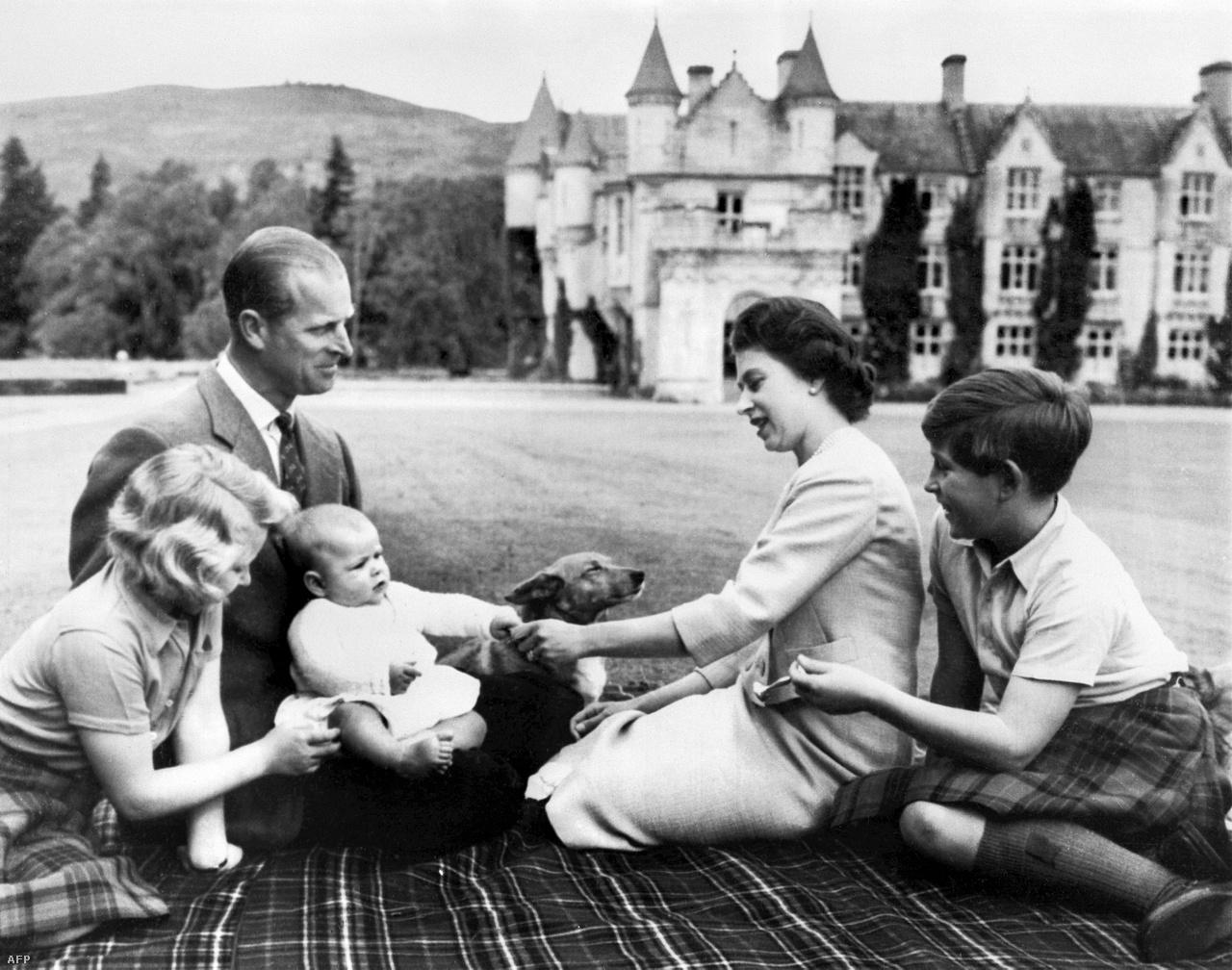 Összesen négy gyerekük született: Károly walesi herceg, Anna brit királyi hercegnő, András yorki herceg és Eduárd wessexi gróf. Az 1960-as képen még András a legkisebb.