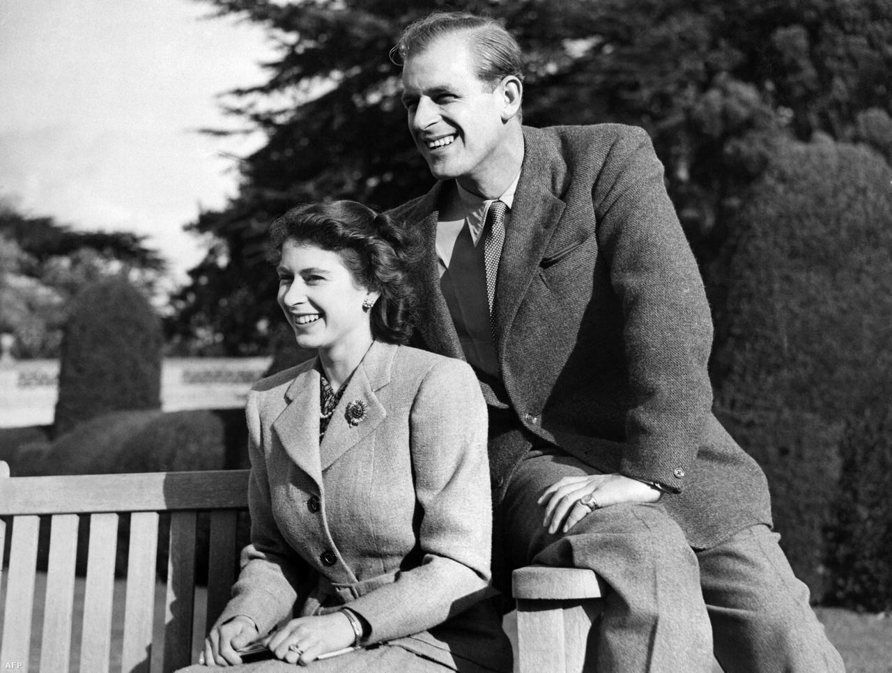 Erzsébet hercegnő és Fülöp herceg a nászútjukon 1947-ben.