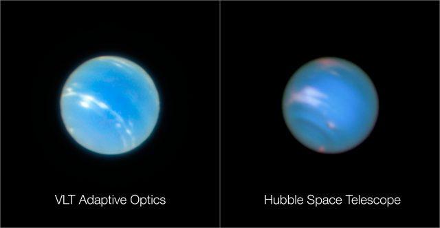 A bal oldali felvételt az ESO Nagyon Nagy Távcsövén (VLT) működő MUSE műszerrel készítették a Neptunusz bolygóról a GALACSI adaptív optikai rendszer tesztelése gyanánt. A jobb oldalon pedig összehasonlítás gyanánt a NASA/ESA Hubble-űrtávcsövének hasonló felvétele látható. Megjegyezzük, hogy mivel a két felvétel nem egy időben készült, a rajtuk megfigyelhető felszíni alakzatok eltérőek.