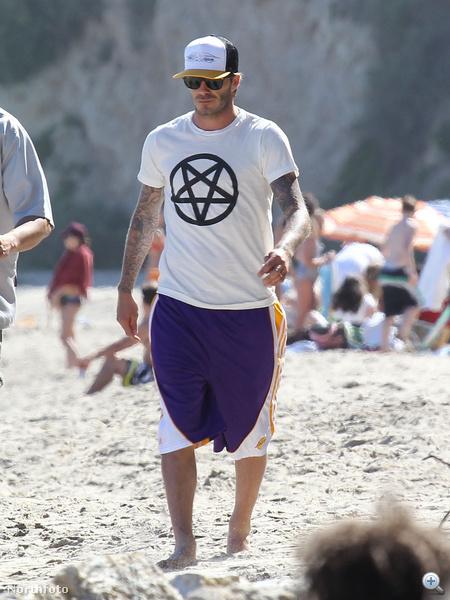 David Beckham pólóján csúcsára van állítva a csillag. Húha.