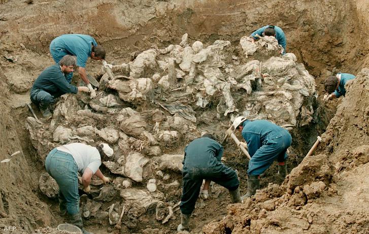 A Hágai Nemzetközi Törvényszék igazságügyi szakértői dolgoznak egy tömegsíron Pilica városában, 1996. július 24-én