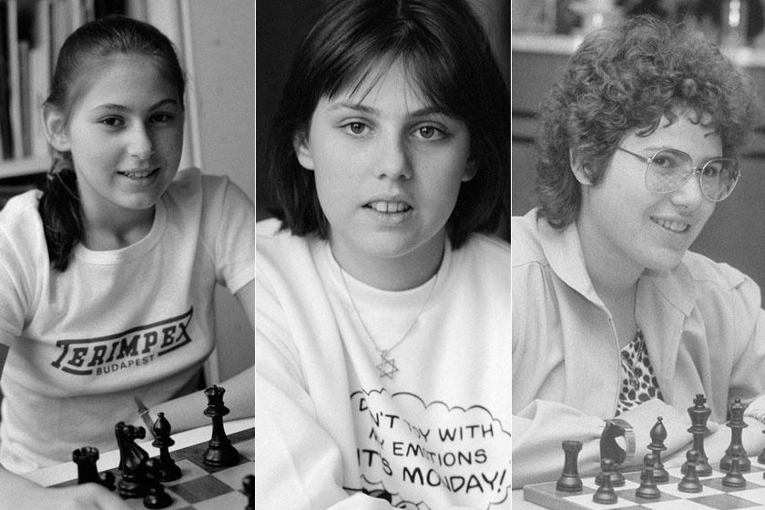 Polgár Judit, Zsófia és Zsuzsa fiatalon.