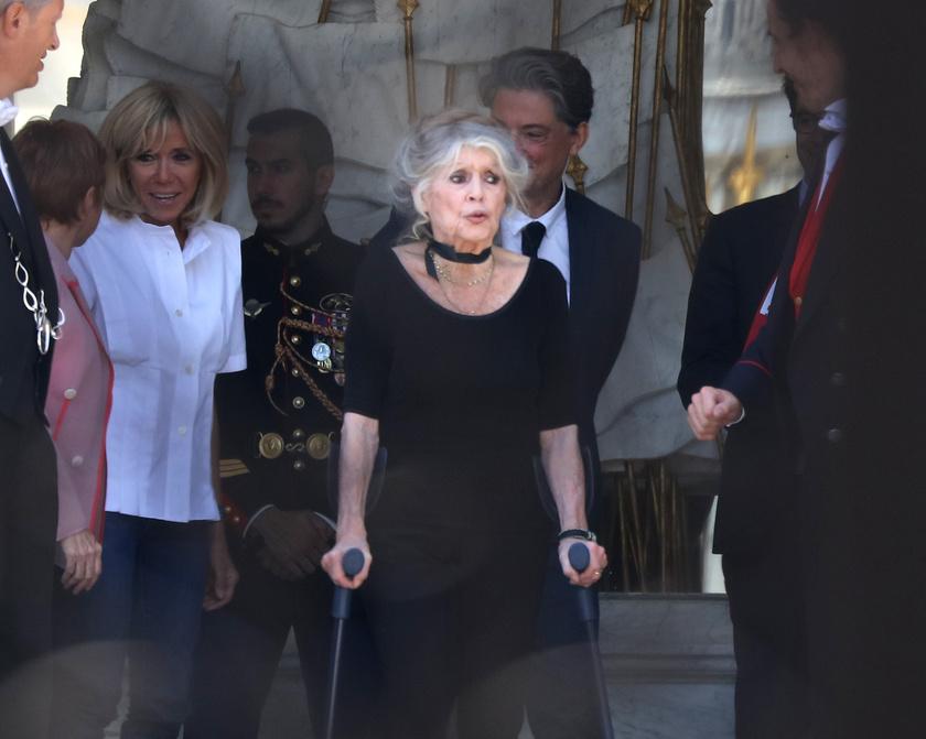 Brigitte Bardot ugyan mankóval jár, de még mindig remekül néz ki.
