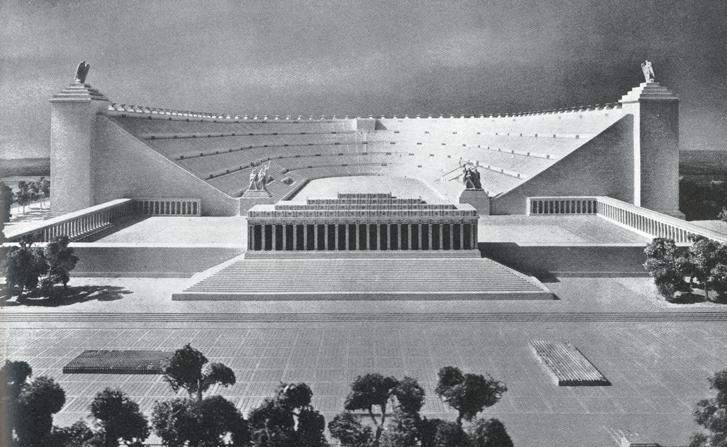 A Német Stadion látványterve. A világ legnagyobbjának építették volna, de csak az alapozásig jutottak, a helyén pedig maradt egy mérgező tó az utókornak