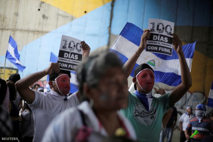 Tüntetés Managuában, július 26-án